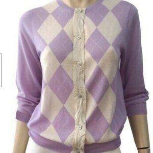 J CREW Lilac Argyle Cashmere Cardigan XS